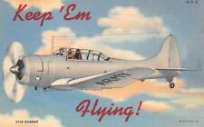 KEEP EM FLYING DIVE BOMBER PATRIOTIC MILITARY POSTCARD (1940s) !!
