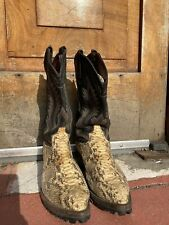Vintage Tony Lama Black Leather Snakeskin Cowboy Boots Hiker Lug Sole Size 11.5
