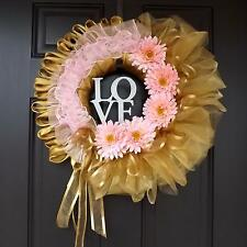 "Beautiful 22"" Handmade Unique Spring Wreath - Golden Love"