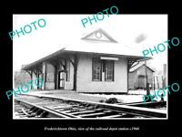 OLD LARGE HISTORIC PHOTO OF FREDERICKTOWN OHIO, THE RAILROAD DEPOT STATION c1960