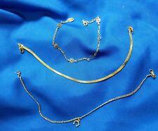 """Set of three Gold tone 9"""" bracelets or anklets horseshoe flowers"""