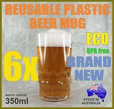 6 REUSABLE PLASTIC BEER DRINK MUG STEIN 350ml UNBREAKABLE OUTDOOR BAR USE