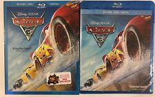 DISNEY PIXAR CARS 3 BLU RAY + DVD 3 DISC SET & SLIPCOVER SLEEVE FREE SHIPPING