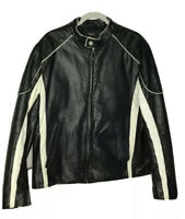 Vintage Wilson Leather retro leather moto biker jacket black white size large