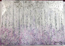 Original Abstract Silver Birches Acrylic On Canvass Painting Patricia May Clark
