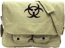 KHAKI W/ BIO-HAZARD Vintage Military Canvas Paratrooper Shoulder Bag 9139