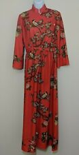 Japanese Kimono Style Dress Floral Bird Print Long Dress Lucite Buttons VTG 60s