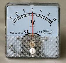DC Analog Volt Meter Panel Mount 15-0-15 PM15015-DC
