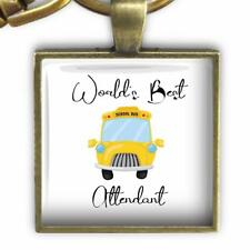 World's Best School Bus Attendant Glass Top Clip On Key Chain Handcrafted