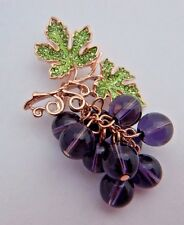 Purple Beaded Grapes Brooch bunch fruit wide crystal Bacchus vine gold pin 4Y