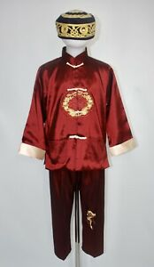 Boys Chinese Costume Dragon Tang Dynasty Red Fancy Dress Tai Chi Age 6-7