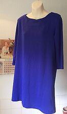 H&M ~ Blue stretch jersey  plain l/sleeve short dress ~ M 14-16