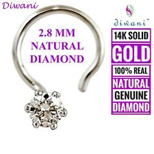 2.8mm Natural VVS Diamond Solitaire Engagement Nose Piercing Ring Pin Stud 14k
