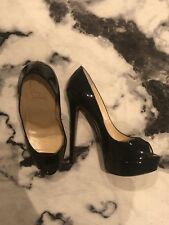 Black Patent Lady Peep Genuine Christian Louboutin Shoes. Worn Once
