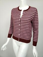 J CREW COLLECTION Burgundy Lilac Gingham Featherweight Cashmere Cardigan S NEW