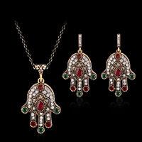 Lucky Women Shiny Rhinestone Hamsa Hand Earrings Necklace Jewelry Gift Solid