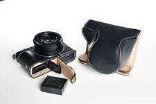 Real Leather Full Camera Case bag cover for Panasonic LX100 Bottom Open Black