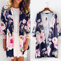 Women's Boho Floral Loose Shawl Kimono Cardigan Tops Cover up Shirt Coat Blouse