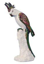 Moderne Skulptur eines Papageis aus Keramik weiß/mehrfarbig Höhe 29,5 cm