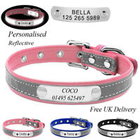 Personalised Soft Reflective Leather Dog Collar Custom Name ID Tags Pet Cat
