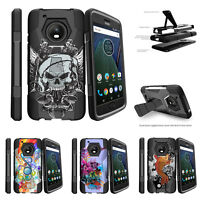 For Motorola Moto G5 Plus | Moto G5 Plus | XT1687 Dual Bumper Case Stand Black