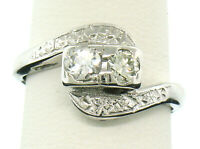 Vintage Estate Etched 14k White Gold Prong Set Dual Round Brilliant Diamond Ring