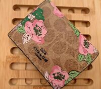 Coach Ladies Signature Canvas With Blossom Print Small Snap Wallet