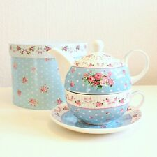 Floral Tea For One Set 3pcs Porcelain Cup Saucer Tea Pot Stacked Cup Gift Party