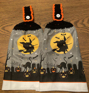 2 Double Sided Crochet Top Witch Black Cat Halloween Dish Hanging Towels