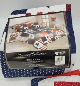 Americana Flag Red White Blue Stars Stripes Reversible Quilt Set King With Shams