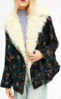 Free People Jacquard Wool Faux Fur Jacket Coat Navy Floral Tapestry OB524703