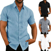 Mens Short Sleeve Linen Dress Shirt Casual Breathable Slim Fit Shirts Tee Tops