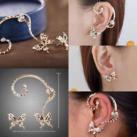 1 Pair Punk Fashion Butterfly Ear Cuff Wrap Rhinestone Crystal Clip Stud Earring