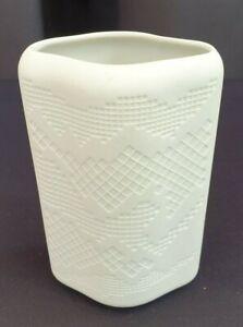 Tirschenreuth Bavaria white Diamond Shaped Posy Vase Bisque finish glazed inside
