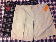 New! Lot Of 2 Pairs Men's Shorts, Size 40, Beige, Plaid, Haggar, Champion