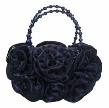 Satin Silk Rose Flower Wedding Evening Handbag Party Clutch Bridal 13 Colours