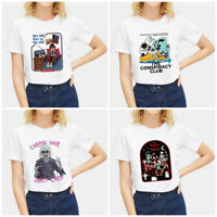 Female Summer Cartoon Devil T-shirt Print Tops Short Sleeve White Casual Tees