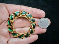 Vintage Gold Tone XMAS Green Enamel Wreath Brooch/Pin