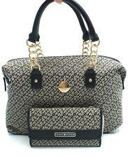 TOMMY HILFIGER Handbag Satchel&Wallet Set*Black Multi Tote Purse New $124