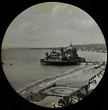 Glass Magic Lantern Slide THE PIER AT NICE C1890 PHOTO FRANCE