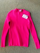 BALENCIAGA WITH TAGS Hot Neon Pink Ribbed Knit Sweater