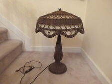 VINTAGE Victorian Adirondack Wicker Table Lamp ARTS & CRAFT Movement 27