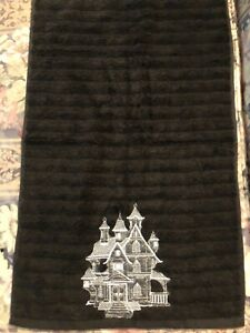 Embroidered Main stays Hand Towel - Halloween - Haunted House - Black Towel