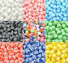 Wholesale ZEBRA & STRIPE ACRYLIC Round Spacer BEADS - Choose 6,8,10,12,14MM