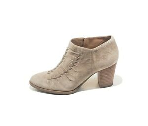 Franco Sarto L-Dimona Ankle Booties Heel Suede Taupe Womens US 8