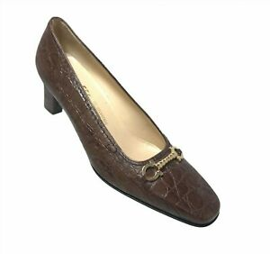 SALVATORE FERRAGAMO Brown Croc Embossed Heels Pumps Size 8 B