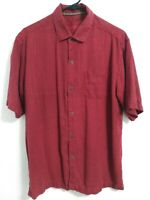 Tommy Bahama Medium 100% Silk Burgundy Red Short Sleeve Button Up Camp Shirt