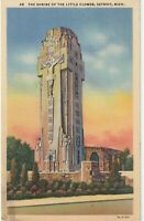 Rare Tower Shrine of The Little Flower in Royal Oak, Michigan Linen Postcard