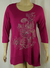 BeMe Berry Embroidered 3/4 Sleeve Viscose Tunic Top Plus Size S 16 BNWT # K24