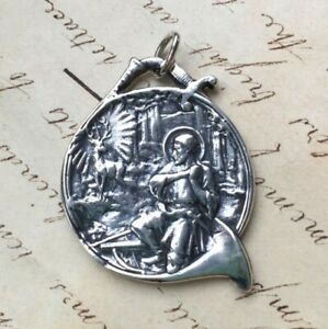 St Hubert Large Medal - Sterling Silver Antique Replica